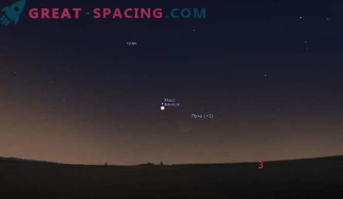 La triple conjonction des 20 et 21 février: Lune, Vénus et Mars!